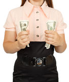 Business woman holds dollars in hands. Isolated on white background Royalty Free Stock Image