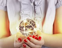 Business woman holds Earth Royalty Free Stock Photo