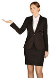 Business woman holds his right hand aloft. white Royalty Free Stock Photography
