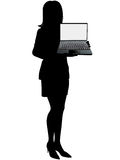 Business woman holds laptop computer to display royalty free illustration