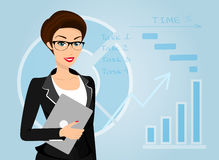 Business woman holds laptop in her hand Royalty Free Stock Image