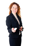 Business woman holds out her calling card Stock Images