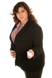 Business woman holds out her card stock photo