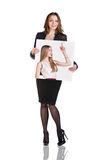 Business woman holds portrait Royalty Free Stock Photo
