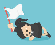 Business woman holds white flag of surrender. Royalty Free Stock Images
