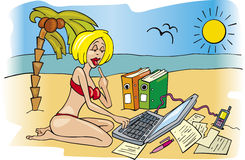 Business woman on holiday. Cartoon illustration of workaholic business woman on holidays Stock Images