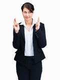 Business woman hoping for best on white background Royalty Free Stock Photography