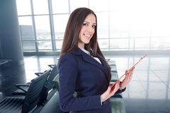 Business woman. Or hostess of congresses and meetings royalty free stock image