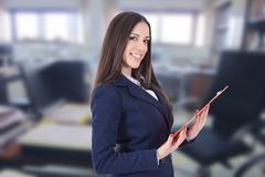 Business woman. Or hostess of congresses and meetings stock image