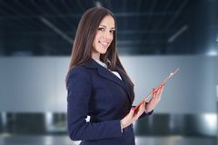 Business woman. Or hostess of congresses and meetings stock photo