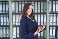 Business woman. Or hostess of congresses and meetings stock images