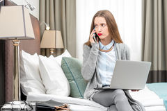 Business woman in the hotel royalty free stock photo