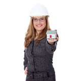 Business woman with house model Royalty Free Stock Photos