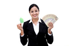 Business woman with house model and Indian currency Stock Photography