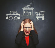 Business woman housewife in stress from many businesses, work, h royalty free stock photos