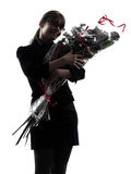 Business woman hugging flowers bouquet silhouette Stock Image