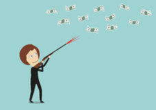 Business woman hunts for money with hunting rifle Stock Photos