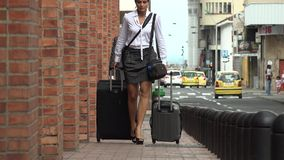 Business Woman in a Hurry stock footage
