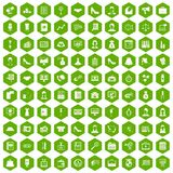 100 business woman icons hexagon green. 100 business woman icons set in green hexagon isolated vector illustration Royalty Free Stock Photography