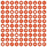 100 business woman icons hexagon orange. 100 business woman icons set in orange hexagon isolated vector illustration royalty free illustration