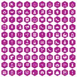 100 business woman icons hexagon violet. 100 business woman icons set in violet hexagon isolated vector illustration royalty free illustration