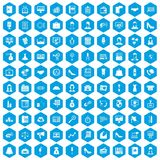 100 business woman icons set blue. 100 business woman icons set in blue hexagon isolated vector illustration Royalty Free Illustration