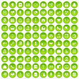 100 business woman icons set green circle. Isolated on white background vector illustration Stock Image