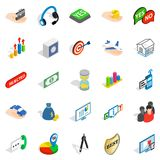 Business woman icons set, isometric style Royalty Free Stock Photos