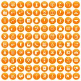 100 business woman icons set orange. 100 business woman icons set in orange circle isolated on white vector illustration royalty free illustration
