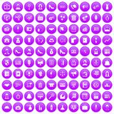 100 business woman icons set purple. 100 business woman icons set in purple circle isolated on white vector illustration Stock Illustration