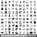 100 business woman icons set, simple style Stock Images