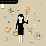 Business woman with an idea. Illustration woman enlightened idea Stock Image