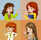 Business woman. Illustration of four squares of business woman Stock Photo