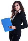 Business Woman In A Suit With Clipboard Royalty Free Stock Photography