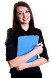 Business Woman In A Suit With Clipboard Stock Photography