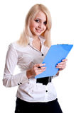 Business Woman In A Suit With Clipboard Stock Photo