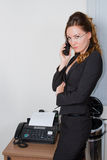 Business Woman In Glasses And Fax Stock Photos