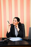 Business woman  indicate with pencil Stock Photos