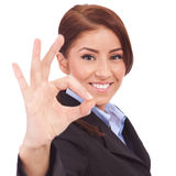 Business Woman Indicating Ok Sign Royalty Free Stock Photos