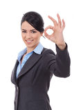 Business woman indicating ok sign Stock Photo