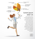 Business woman info graphics diagram flat. Royalty Free Stock Photo