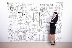 Business Woman with infographic concept Royalty Free Stock Photo