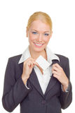 Business woman instert card in pocket Royalty Free Stock Image
