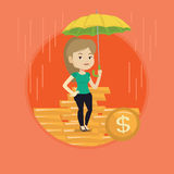 Business woman insurance agent with umbrella. Stock Image
