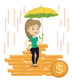 Business woman insurance agent with umbrella. Stock Images