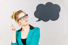 Business woman intensive thinking royalty free stock images