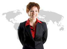 Business Woman International. On a world map background stock image