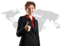 Business Woman International. On a world map background stock photos