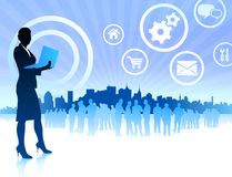 Business woman on internet skyline background Royalty Free Stock Photography