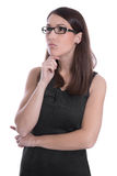 Business woman isolated in black and white with glasses looking Royalty Free Stock Images